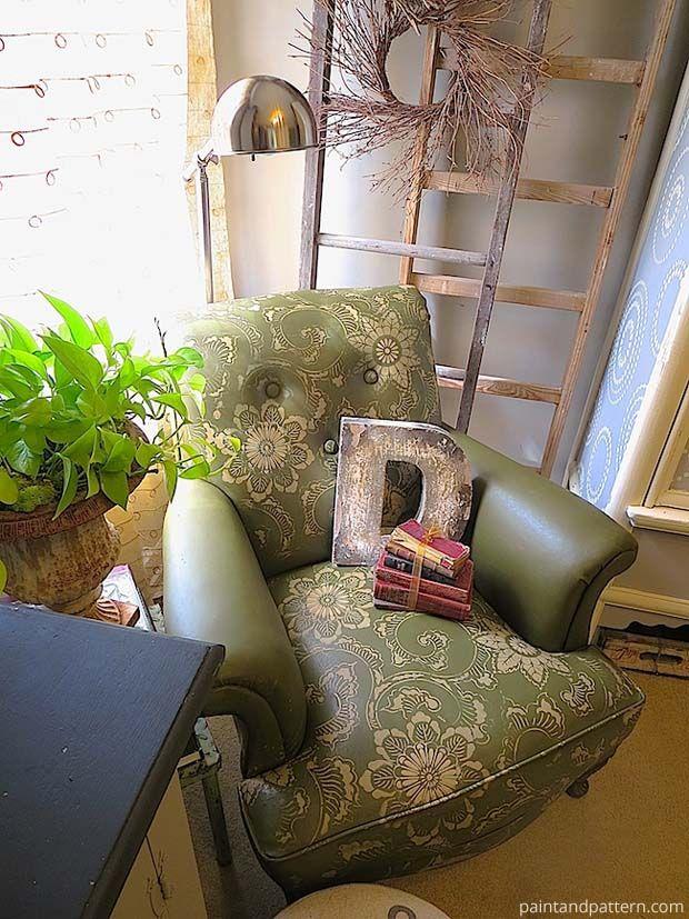 Stencil DIY: Leather Club Chair Goes Drab to Fab!