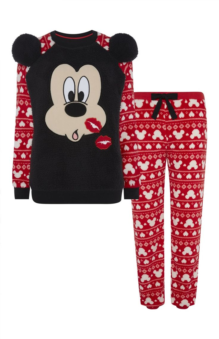 Primark - Mickey Mouse Kisses Sherpa PJ Set