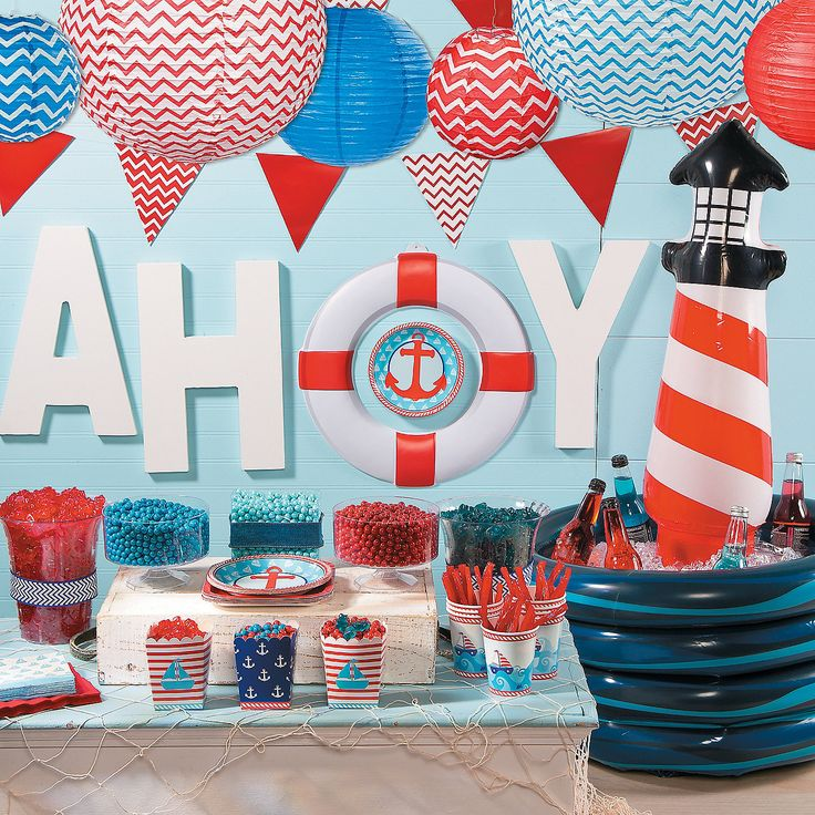 210 best nautical themed baby shower images on pinterest for Baby shower wall decoration ideas