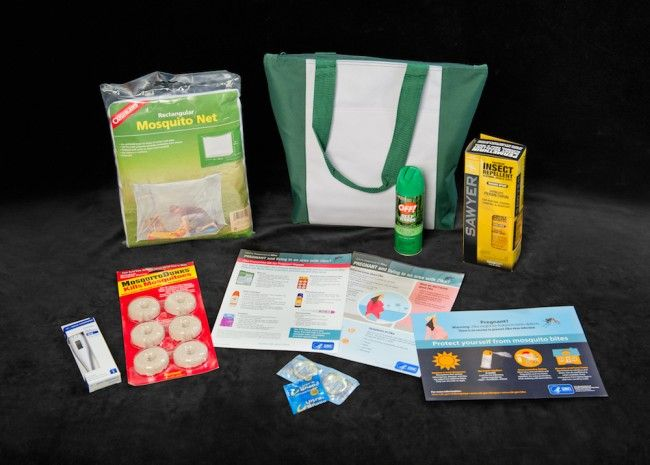 Zika kits contain a mosquito net, DEET insect repellent, Permethrin spray for clothes, condoms, BTI larvicide discs, and educational information - CDC