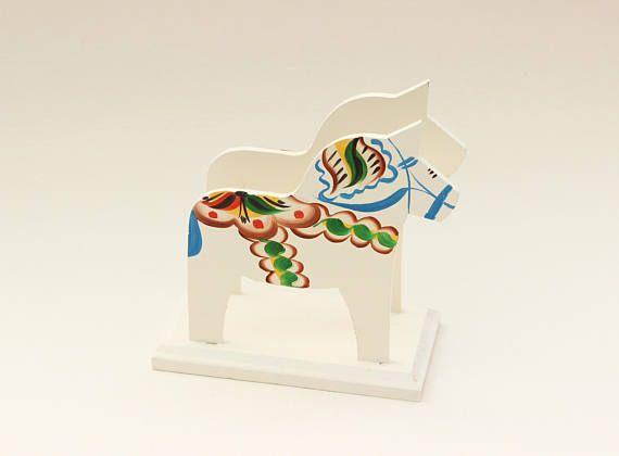 Decorative vintage white Dala horse napkin holder. Made by