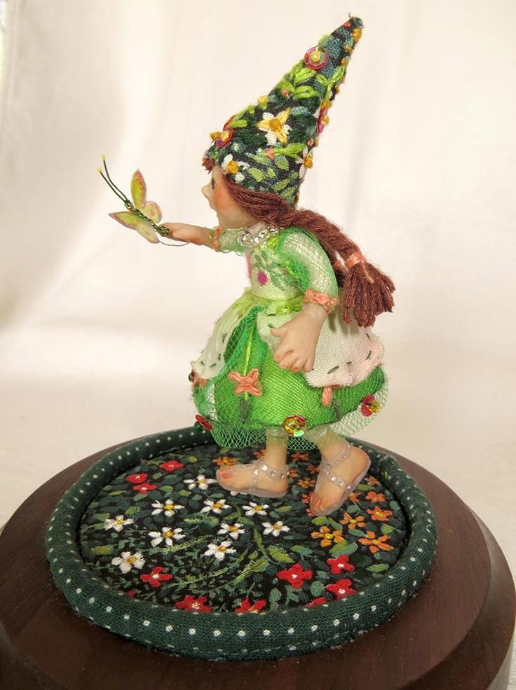 Lorelei, miniature art doll.  One of a kind, created 2013 by Lorraine Krahn Muenster of Winnipeg, Canada