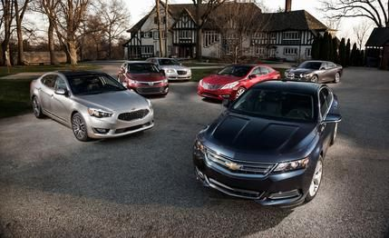 2014 #Chevrolet #Impala LT vs. 2013 #Chrysler #300S, 2013 #Dodge #Charger SXT, 2013 #Hyundai #Azera, 2014 #Kia #Cadenza, 2013 #Toyota #Avalon XLE  Dr. Robinson's Miracle Salves for Sunday Drivers: We put six high-fiber four-doors on the road to Wellville.