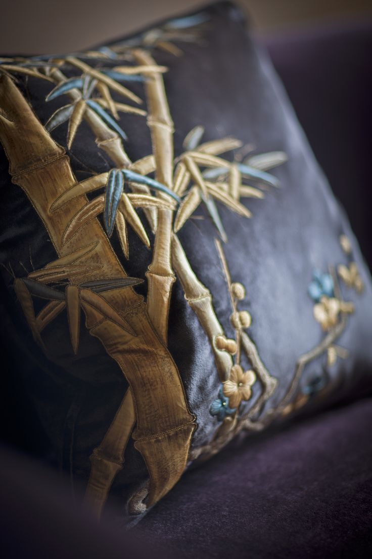 A stunning Ariana cushion. Embroidered by hand using a number of techniques in silk, metal threads and silk delicately hand painted applique.
