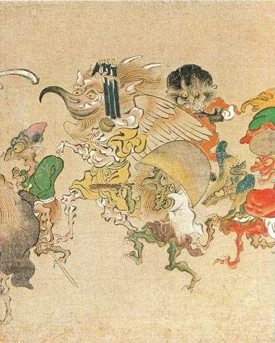 Demons from The Hundred Demons′ Night Parade『日本絵巻大成25 能恵法師絵詞・福富草紙・百鬼夜行絵巻』から「百鬼夜行絵巻」「百鬼夜行絵巻 解説」(中央公論社・昭和54年)