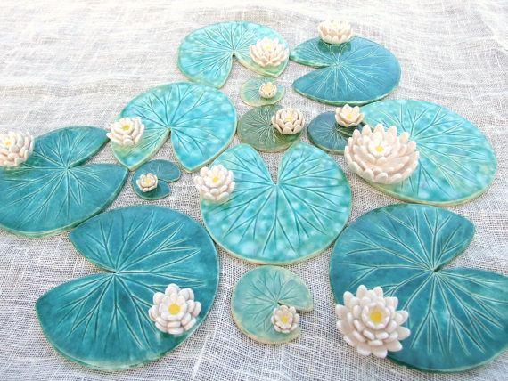 Seerosenblatt Achterbahn mit Blume Keramik von damsontreepottery