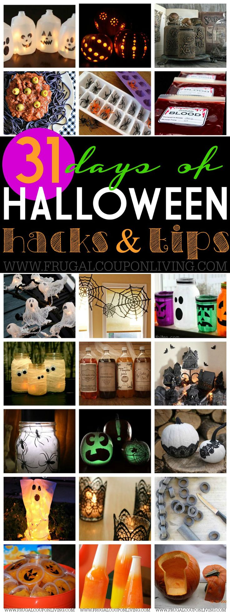 31 Days of Halloween Hacks & Tips on Frugal Coupon Living. Last minute decorations, pumpkin carving tips, DIY Halloween crafts and more! Pin to Pinterest.