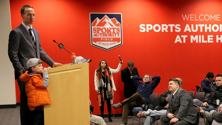 Peyton Manning's shy little son, Marshall, stole the show at his press conference