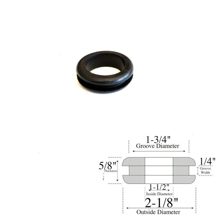 "1-1/2"" Inside Diameter Rubber Grommet - 5/8"" Thick - Fits 1-3/4"" Holes"