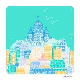 Arts Graphiques   Julie Zeitline   Dans les rues de Montmartre   Tirage d'art en série limitée sur L'oeil ouvert