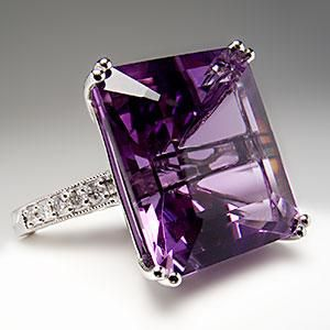 ★ Natural Emerald Cut Amethyst & Diamond Cocktail Ring 14K White Gold ★