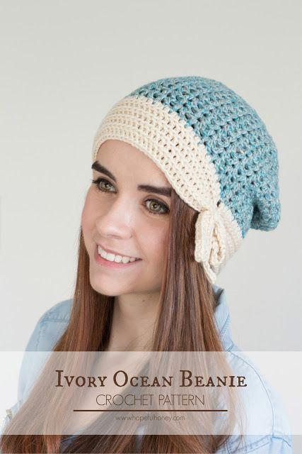 Ivory Ocean Slouchy Beanie - Free Crochet Pattern