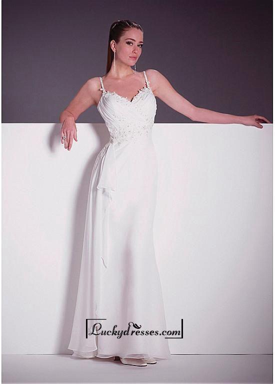 Beautiful Elegant Exquisite Chiffon Sheath Wedding Dress In Great Handwork