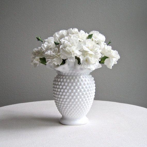Fenton Hobnail Milk Glass Vase, Medium Size - White American Glass Vase on Etsy, $44.00