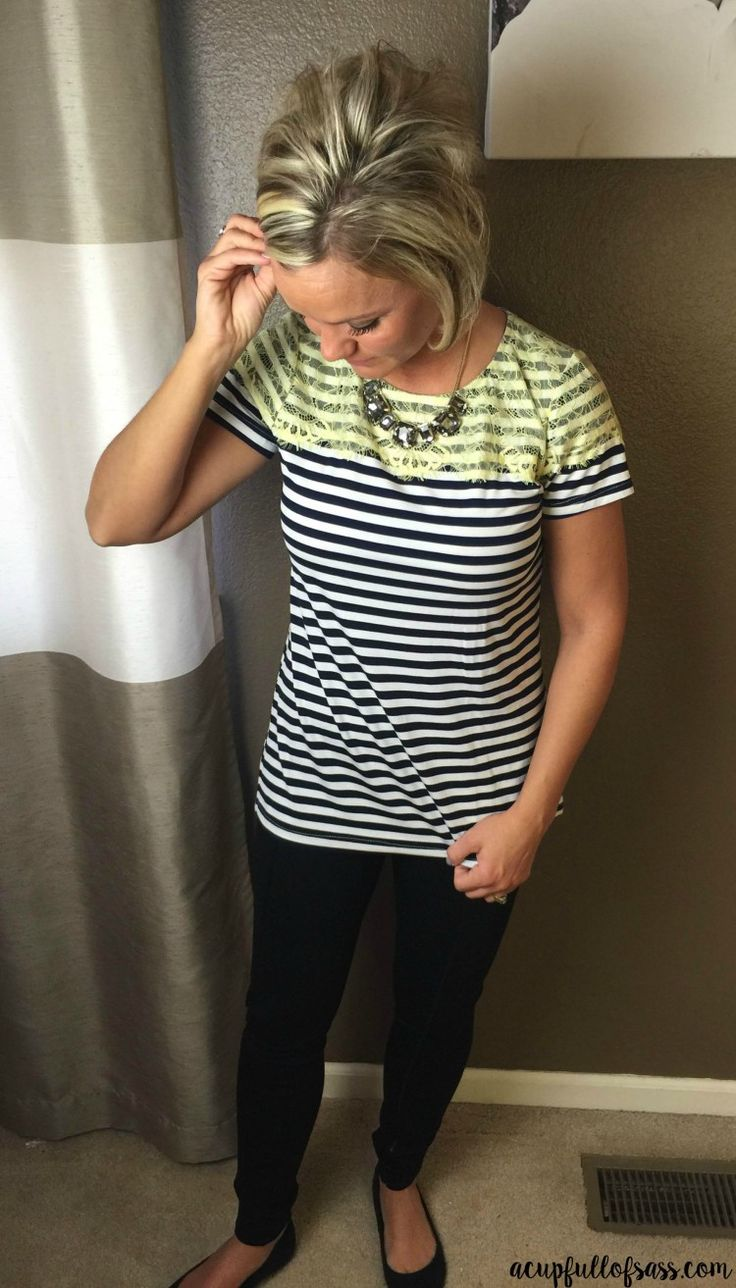 great shirt and leather leggings Stitch Fix Lace+top
