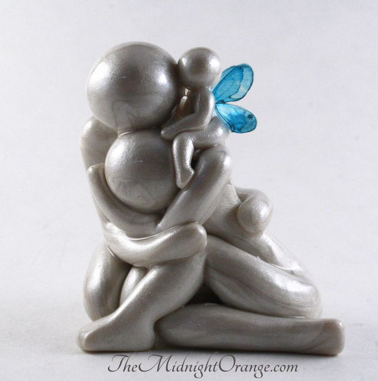 Always - grieving parents with angel baby sculpture - child loss memorial gift of remembrance with mother father and infant made to order (69.00 USD) by TheMidnightOrange