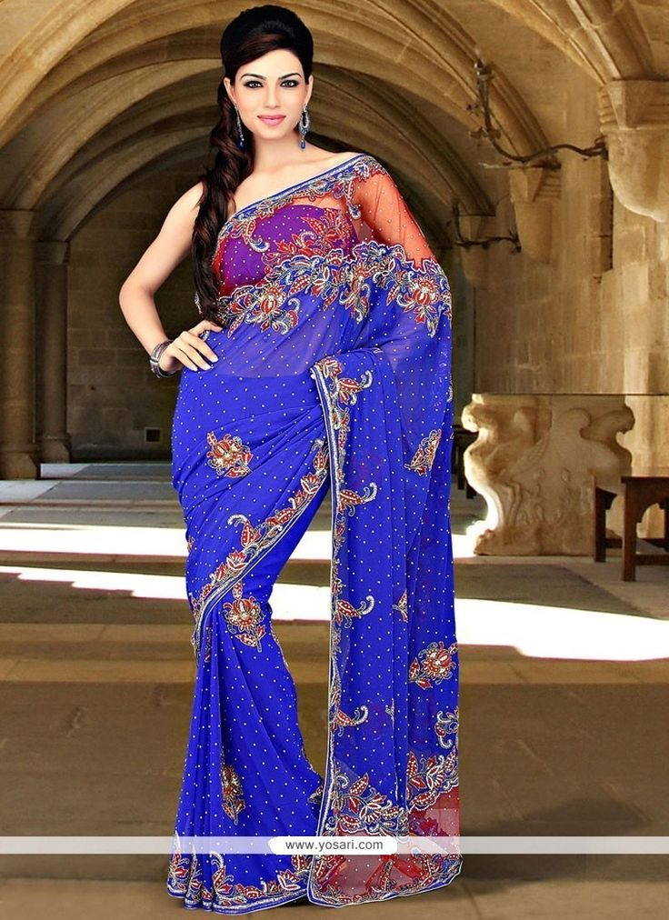 Beckoning Faux Georgette Blue Saree Model: YOSAR11787