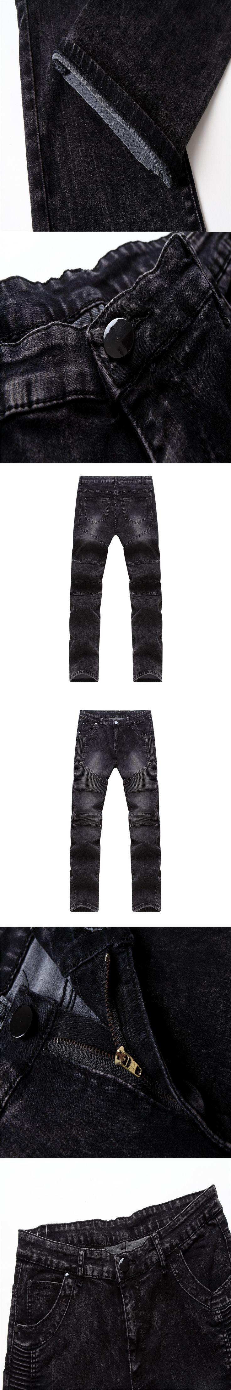Hot Summer Motor Jeans Men Fear of God Biker Jeans Cotton Trousers Mens Hip Hop Robin Ripped Jeans Mans Skate Slim Fitness Pants