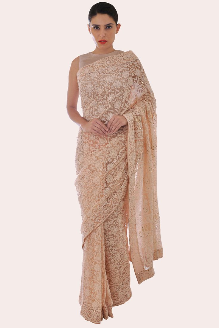 Oyster Pink Chikankari And Kamdani Net Saree