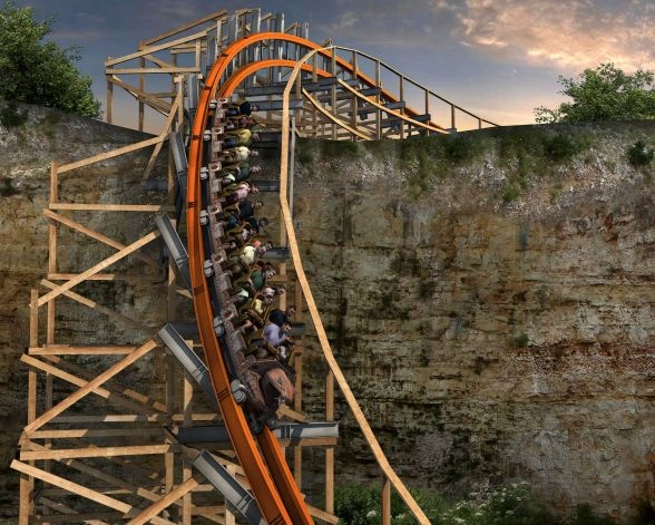 Artist's rendering of what the Iron Rattler at Six Flags Fiesta Texas will look like once the modern track and rails have been added to the wooden structure of the original Rattler. Photo: Courtesy Illustration / SA Photo: Courtesy Illustration / SA