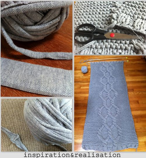 DIY Giant Rug Made From Giant Knitting Needles and Tee Shirt Yarn from inspiration & realisation here.Remember when I posted Donatella's tutorial here for making gigantic size 50 knitting needles from wooden dowels? This post is about the tips and tricks she learned from knitting with these huge needles. I cannnot wait to try this! *For how to make tee shirt yarn go to this post here.