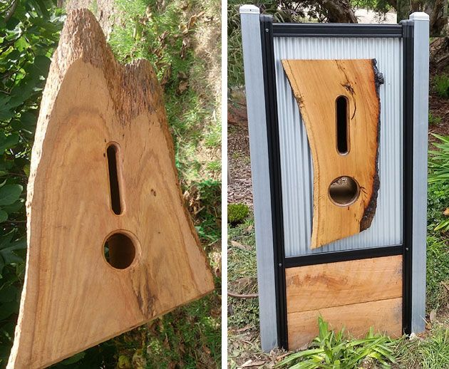 Timber mail boxes with newspaper slot by Raw Boards, Bendigo
