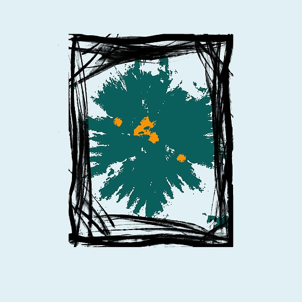 B7 - This is a abstract painting with frames and shapes in black with a emerald green accent on a light blue tone background. Ideal for interior decorating in any size or position in a home or office.