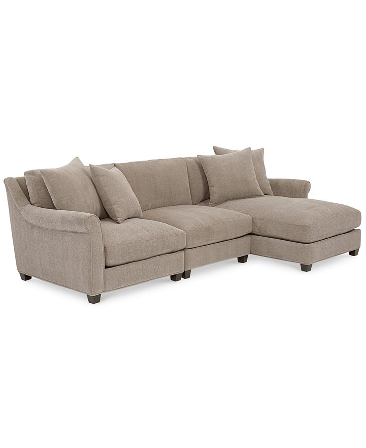 Family room westen fabric 3 piece chaise sectional for 3 piece sectional with chaise