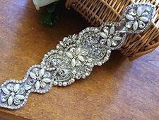 NEW ,.Crystal Rhinestone Applique with Pearls for Bridal Sash, Wedding Gown, Bri