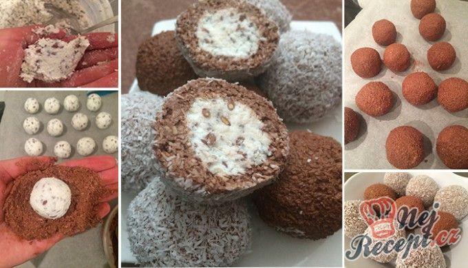 Dvoubarevné FITNESS kuličky z tvarohu a kokosu bez cukru, mouky a vajíčka