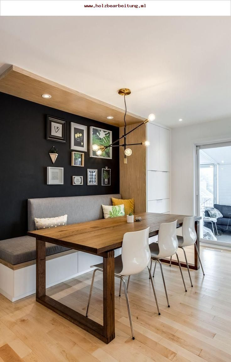 A Cool Transitional Mid Century Modern Dining Area With Built In Bench Seating Dining Room Bench Modern Dining Room Modern Room