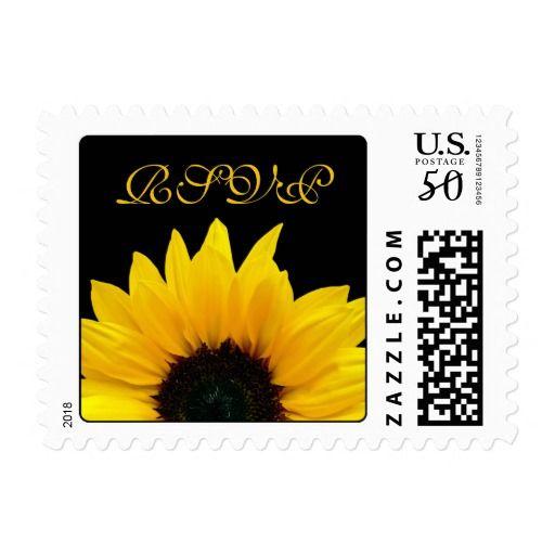 Yellow Sunflower Flower Black Wedding RSVP Postage