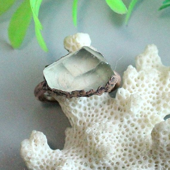 Lemon quartz crystal ring electroforming jewelry statement