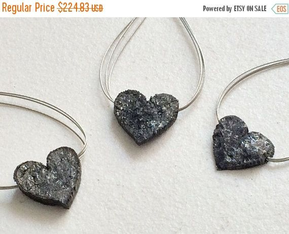 45% ON SALE Black Rough Diamond Diamond Heart by gemsforjewels