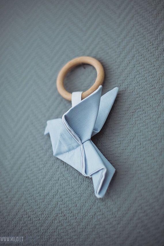 Holz-Teething Ring Spielzeug Origami Crane-Bio-Teetther-Baumwolle