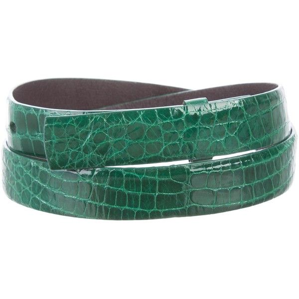 Pre-owned Oscar de la Renta Alligator Waist Belt ($175) ❤ liked on Polyvore featuring accessories, belts, green, green belt, waist belts, oscar de la renta belt, alligator belt and green waist belt