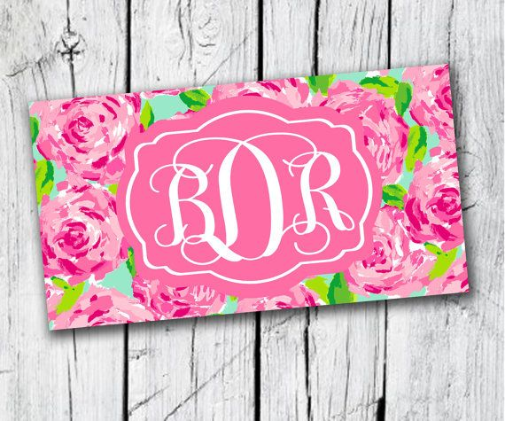 License Plate Lilly Pulitzer Inspired Personalized Car License Plate Custom Pink Roses on Etsy, $28.00