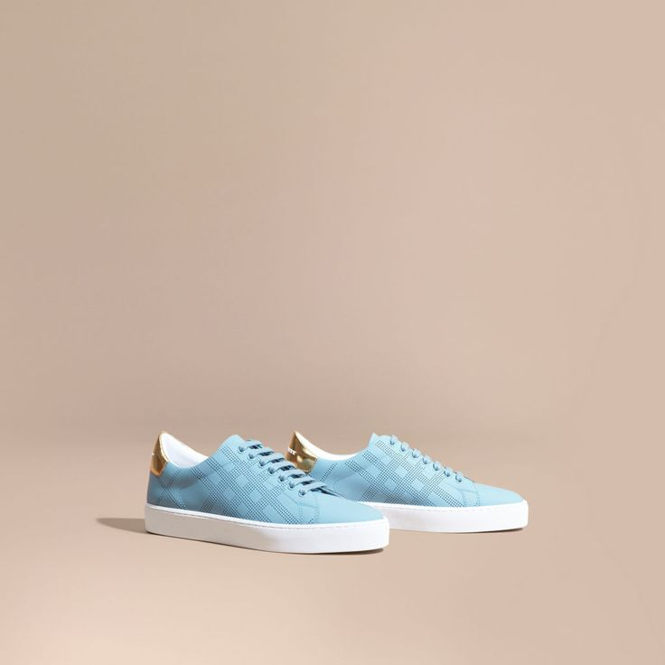 Perforated Check Leather Trainers Powder Blue | Burberry