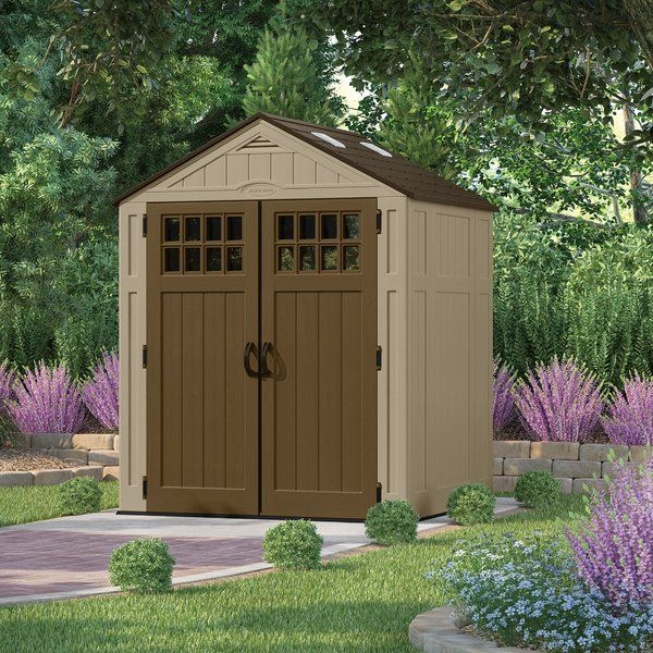 You have storage demands, let the Suncast Everett™ Shed be the solution! With a large 201 cubic ft. capacity, there is little this shed will not store. Skylights and door windows allow natural light to illuminate the shed for easy navigation. Constructed of durable double-wall resin, this shed is easy to maintain and will not rust, rot, or dent. The metal-reinforced shingle-style roof combines style and durability. Suncast sheds come with a reinforced floor to keep even the heaviest items…