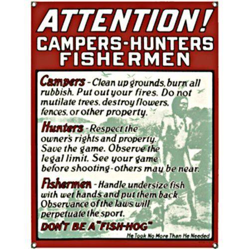 Attention Campers Porcelain Sign
