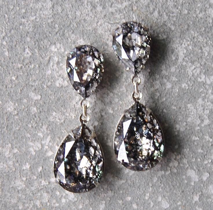 Black Diamond Earrings Swarovski Crystal Confetti Glitter Bubble Earrings Pear Tear Drop Rhinestone Post Dangle Duchess Pear Mashugana by MASHUGANA on Etsy https://www.etsy.com/listing/208190588/black-diamond-earrings-swarovski-crystal