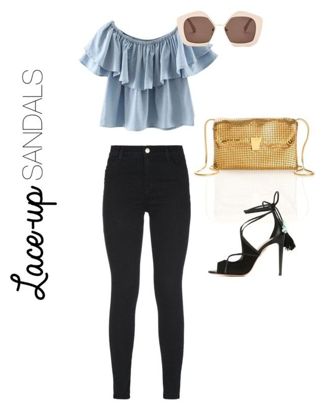 """""""Simple Summer Laced Up"""" by luluuheree on Polyvore featuring J Brand, Chicnova Fashion, Marni, Yves Saint Laurent, Aquazzura, contestentry, laceupsandals and PVStyleInsiderContest"""