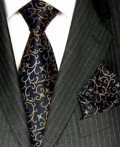 LORENZO CANA Luxury Italian Pure Silk Tie Hanky Set Black Gold Woven Handmade Necktie 8417202