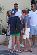 Felipe Juan Froilan Marchamar, Victoria Federica Marchamar, Irene Urdangarin, Juan Valentín Urdangarin, Pablo Nicolas Urdangarin, Miguel Urdangarin and Queen Sofia of Spain arrived at CalaNova Club on August 1, 2016 in Palma, Mallorca