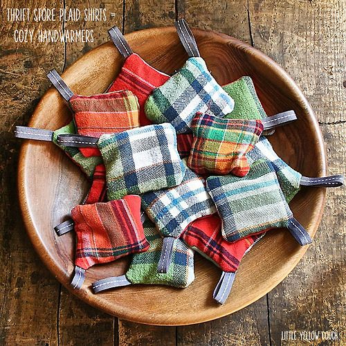 Flannel Handwarmers via Little Yellow Couch Put old, worn flannel to good use with this easy upcycle tutorial. It's a wonderful homemade gift to give, and I love the idea of the little tabs to wrap around your thumbs. They would make wonderful gift tags!