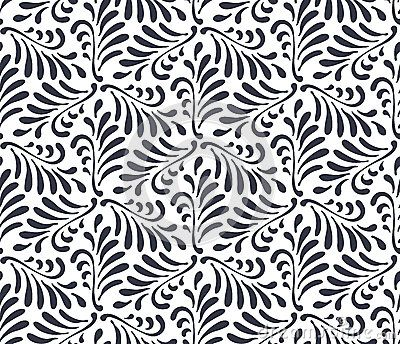 Floral seamless pattern background. Ornament with stylized leaves on hexagonal grid