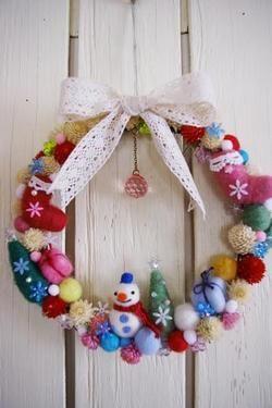 * hanna original * :クリスマス♪羊毛フェルトリース
