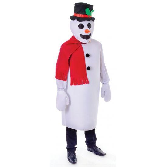 Sneeuwpop verkleedkleding voor volwassenen  Sneeuw man kostuum. Een grappig sneeuwpop kostuum bestaande uit: het hoofd met aangehechte hoed lang shirt handschoenen en sjaal. One size geschikt voor volwassenen.  EUR 39.95  Meer informatie