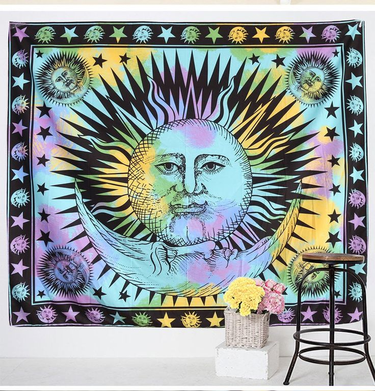 Psychedelic Sun and Moon Tapestry (Free Shipping)