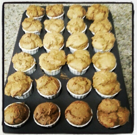 Visalus pumpkin spice muffins: 2 scoops of Visalus shake mix, 1 can
